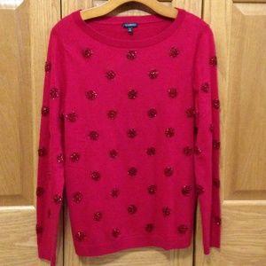 TALBOTS - Red Glitter Sweater - NWT